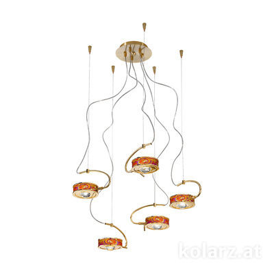 5030.30530.000/aq40 24 Carat Gold, Ø60cm, Max. height 190cm, 5 lights, G9
