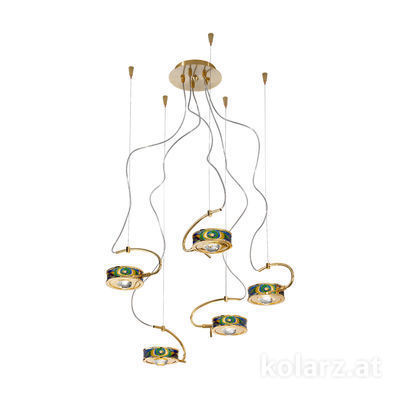 5030.30530.000/aq70 24 Carat Gold, Ø60cm, Max. height 190cm, 5 lights, G9