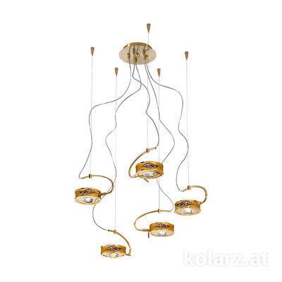 5030.30530.000/ki30 24 Karat Gold, Ø60cm, Max. Höhe 190cm, 5-flammig, G9