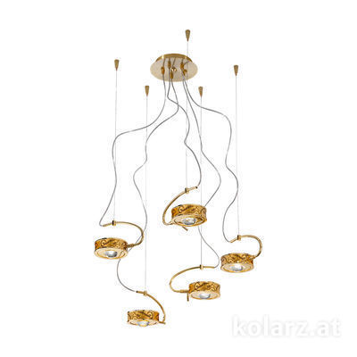 5030.30530.000/me30 24 Carat Gold, Ø60cm, Max. height 190cm, 5 lights, G9