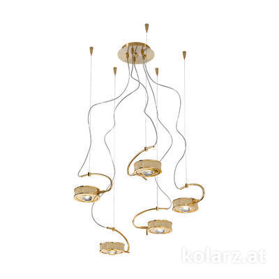 5030.30530.000/tc10 24 Carat Gold, Ø60cm, Max. height 190cm, 5 lights, G9