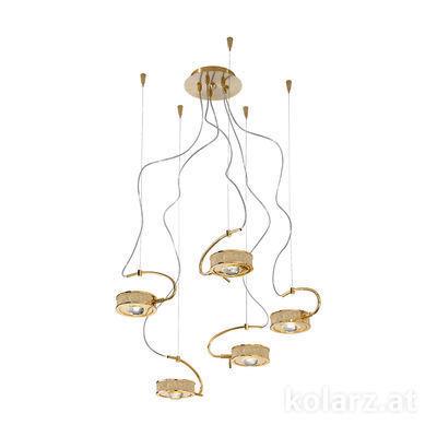 5030.30530.000/tc10 24 Karat Gold, Ø60cm, Max. Höhe 190cm, 5-flammig, G9