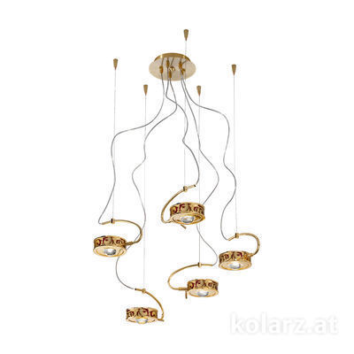 5030.30530.000/tc40 24 Carat Gold, Ø60cm, Max. height 190cm, 5 lights, G9