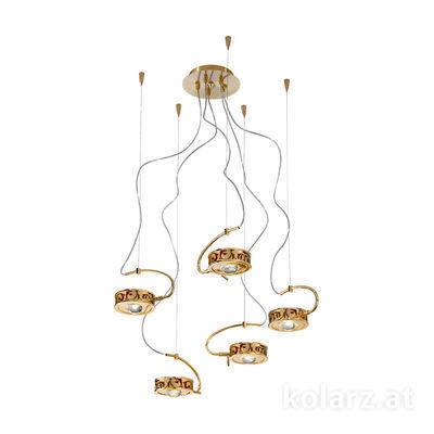 5030.30530.000/tc40 24 Karat Gold, Ø60cm, Max. Höhe 190cm, 5-flammig, G9