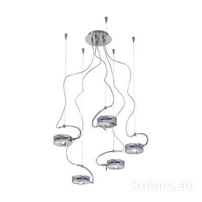 5030.30550.000/ki50 Chrome, Ø60cm, Max. height 190cm, 5 lights, G9