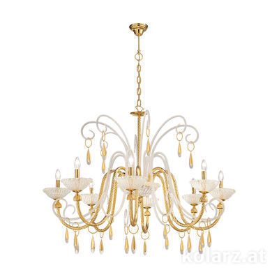 5100.80830 24 Carat Gold, Ø120cm, Height 75cm, Min. height 100cm, Max. height 170cm, 8 lights, E14