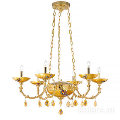 5130.80630.000/ki30 24 Carat Gold, Ø110cm, Height 110cm, 6 lights, E14