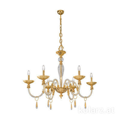 5250.80630.943/tc10 24 Carat Gold, Ø90cm, Height 75cm, Min. height 100cm, Max. height 145cm, 6 lights, E14