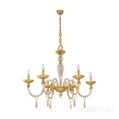 5250.80630.943/tc10 24 Karat Gold, Ø90cm, Höhe 75cm, Min. Höhe 100cm, Max. Höhe 145cm, 6-flammig, E14
