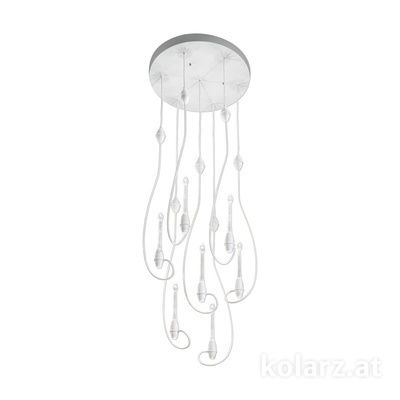 5330.31480.910 White Matt, Ø50cm, Height 77cm, Min. height 80cm, Max. height 320cm, 14 lights, LED