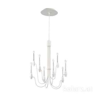 5330.81680.910 White Matt, Ø60cm, Height 75cm, Min. height 80cm, Max. height 225cm, 16 lights, LED