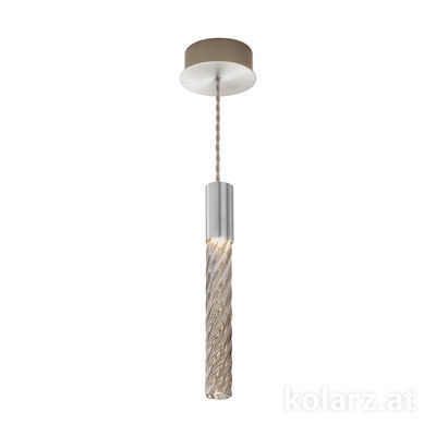 5340.30150.Fm Chrome, MOBILE MURANO fumée, Width 13cm, Min. height 33cm, Max. height 170cm, 1 light, LED dimmable