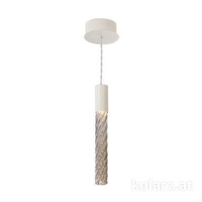 5340.30180.Fm White Matt, MOBILE MURANO fumée, Width 13cm, Min. height 33cm, Max. height 170cm, 1 light, LED dimmable