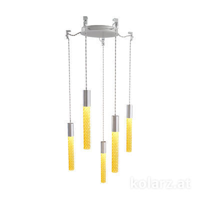 5340.30550.A Chrome, MOBILE MURANO amber, Ø24cm, Height 30cm, Min. height 50cm, Max. height 230cm, 5 lights, LED dimmable