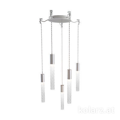 5340.30550.T Chrome, MOBILE MURANO crystal, Ø24cm, Height 30cm, Min. height 50cm, Max. height 230cm, 5 lights, LED dimmable