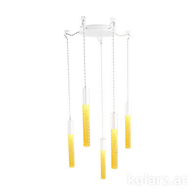 5340.30580.A White Matt, MOBILE MURANO amber, Ø24cm, Height 30cm, Min. height 50cm, Max. height 230cm, 5 lights, LED dimmable