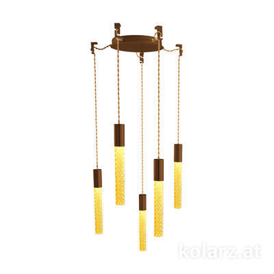5340.30590.A Corten, MOBILE MURANO amber, Ø24cm, Height 30cm, Min. height 50cm, Max. height 230cm, 5 lights, LED dimmable