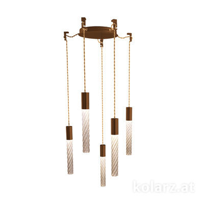 5340.30590.Fm Corten, MOBILE MURANO fumée, Ø24cm, Height 30cm, Min. height 50cm, Max. height 230cm, 5 lights, LED dimmable