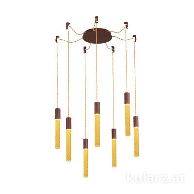 5340.30790.A Corten, MOBILE MURANO amber, Ø24cm, Height 30cm, Min. height 50cm, Max. height 230cm, 7 lights, LED dimmable