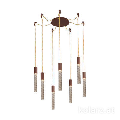 5340.30790.Fm Corten, MOBILE MURANO fumée, Ø24cm, Height 30cm, Min. height 50cm, Max. height 230cm, 7 lights, LED dimmable