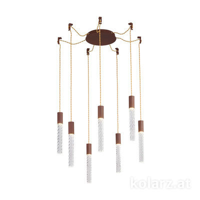 5340.30790.T Corten, MOBILE MURANO crystal, Ø24cm, Height 30cm, Min. height 50cm, Max. height 230cm, 7 lights, LED dimmable