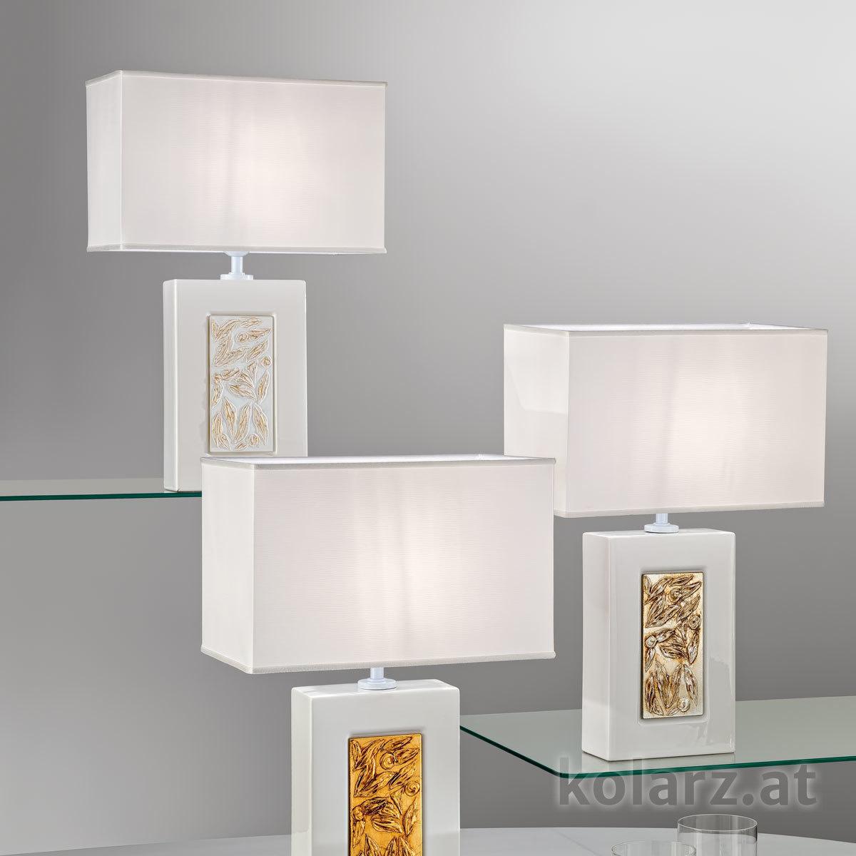Lampe de table SABRINA, Medici Gold, Hauteur 52 Blanc, Longueur 32cm, Largeur 20cm, Hauteur 52cm, 1 lumière, E27