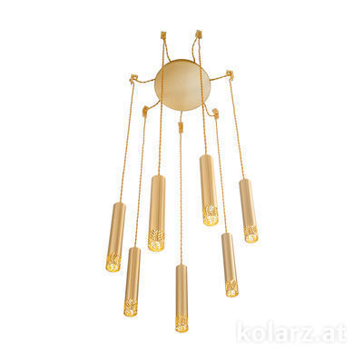 5370.30730 24 Carat Gold, Ø24cm, Min. height 40cm, Max. height 270cm, 7 lights, LED dimmable
