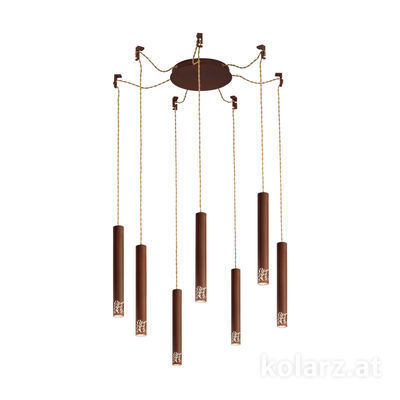 5370.30790 Corten, Ø24cm, Min. height 40cm, Max. height 270cm, 7 lights, LED dimmable