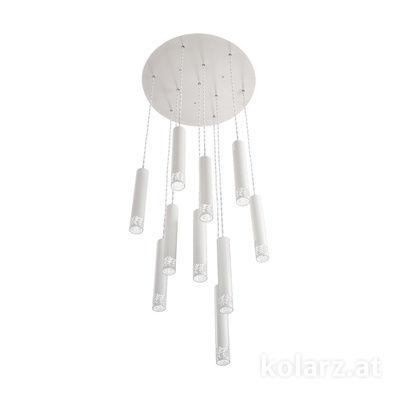 5370.31080 White Matt, Ø50cm, Height 180cm, Min. height 40cm, 10 lights, LED dimmable