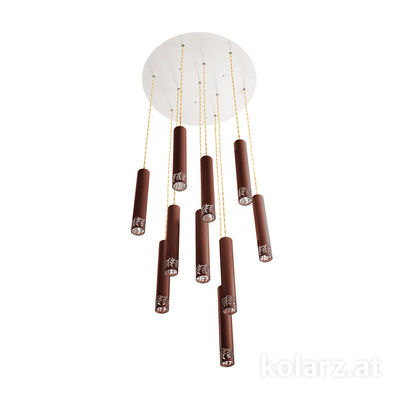 5370.31090 Corten, Ø50cm, Height 180cm, Min. height 40cm, 10 lights, LED dimmable