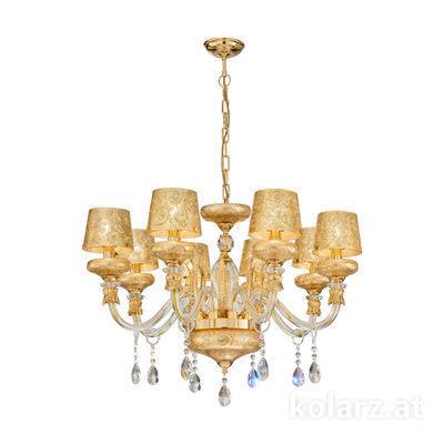 5730.8001/8.940/tc10 24 Carat Gold, Ø79cm, Height 48cm, 8 lights, E14