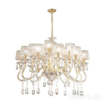 5740.8015/15.940 24 Carat Gold, Ø93cm, Height 66cm, Min. height 87cm, Max. height 130cm, 15 lights, E14