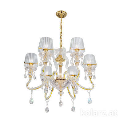 5740.8015/6.940 24 Carat Gold, Ø66cm, Height 57cm, Min. height 78cm, Max. height 121cm, 6 lights, E14