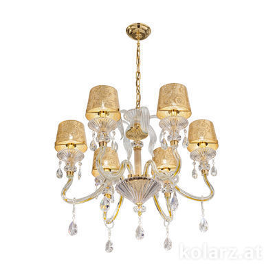 5740.8015/6.940/tc10 24 Carat Gold, Ø66cm, Height 57cm, Min. height 78cm, Max. height 121cm, 6 lights, E14