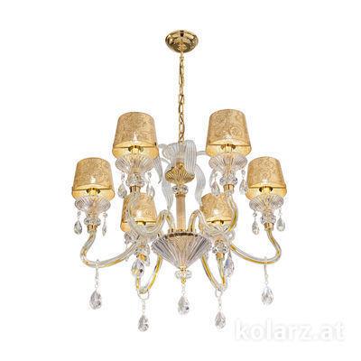 5740.8015/6.940/tc10 24 Karat Gold, Ø66cm, Höhe 57cm, Min. Höhe 78cm, Max. Höhe 121cm, 6-flammig, E14