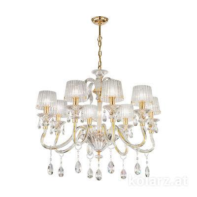 5740.8015/8.940 24 Carat Gold, Ø79cm, Height 66cm, Min. height 87cm, Max. height 130cm, 8 lights, E14