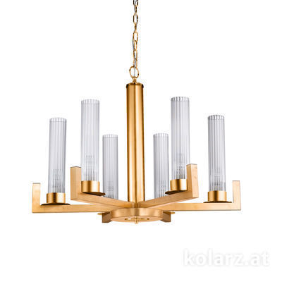 6009.80630 Gold Leaf, Transparent, Ø70cm, Min. height 57.5cm, Max. height 165cm, 6 lights, E14