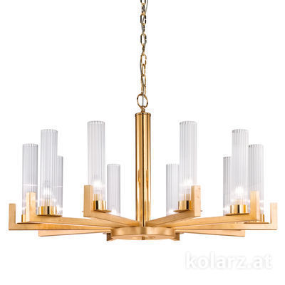 6009.81030 Gold Leaf, Transparent, Ø100cm, Min. height 57.5cm, Max. height 165cm, 10 lights, E14