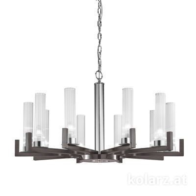 6009.81060 Brunito brushed, Ø100cm, Min. height 57.5cm, Max. height 165cm, 10 lights, E14