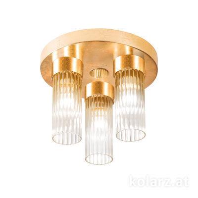 6010.10330 Gold Leaf, Ø30cm, Height 21.5cm, 3 lights, E14