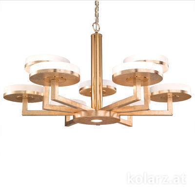 6020.81030 Gold Leaf, Ø100cm, Min. height 61cm, Max. height 154cm, 10 lights, GX53