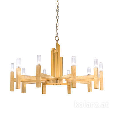6030.81030 Gold Leaf, Ø100cm, Height 61.4cm, Max. height 165cm, 10 lights, G9
