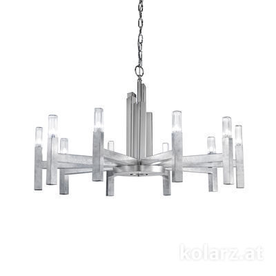 6030.81050 Silver Leaf, Ø100cm, Height 61.4cm, Max. height 165cm, 10 lights, G9