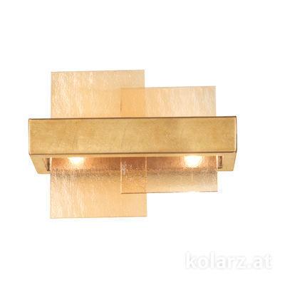 6040.60230/A Gold Leaf, Amber, Width 32cm, Height 24cm, 2 lights, G9