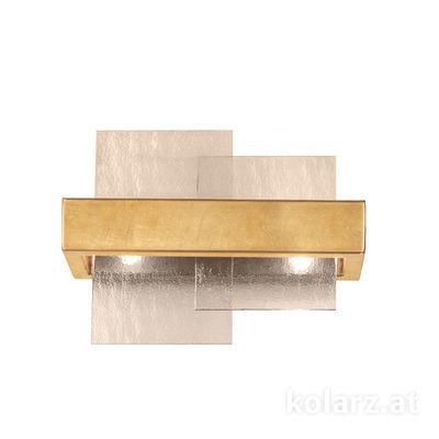 6040.60230/Fm Gold Leaf, Fumé, Width 32cm, Height 24cm, 2 lights, G9