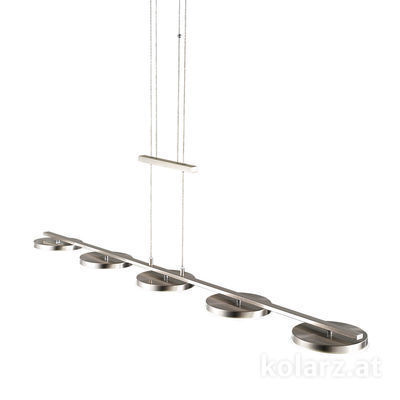 A1302.85.6 Nickel, Length 120cm, Width 15cm, Min. height 30cm, Max. height 150cm, 5 lights, LED