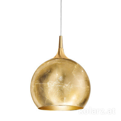 A1306.31.7.Au/30 24 Carat Gold, Gold, Ø30cm, Height 35cm, Min. height 45cm, Max. height 185cm, 1 light, E27