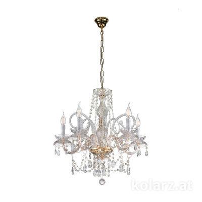 A1335.85 24 Carat Gold, Ø60cm, Height 60cm, Max. height 110cm, 5 lights, E14