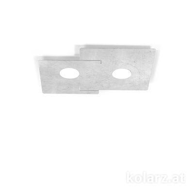 A1337.12.1.Ag Blanc, Longueur 32cm, Largeur 44cm, Hauteur 3cm, 2 lumières, GX53