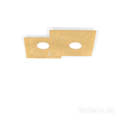 A1337.12.1.Au White, Length 32cm, Width 44cm, Height 3cm, 2 lights, GX53